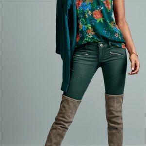Cabi Zipper Green Skinny Jeans 3388